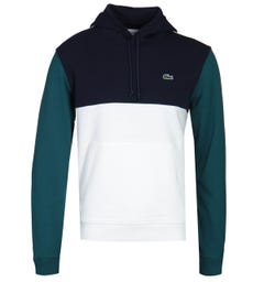Lacoste Tri-Colour White, Navy & Green Pullover Hoodie