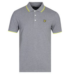 Lyle & Scott Tipped Mid Grey Marl Polo Shirt