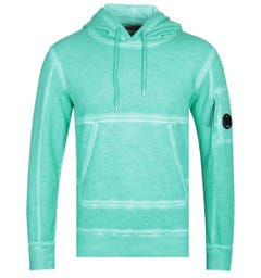 CP Company Garment Dyed Mint Green Lens Hoodie