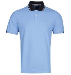 Aquascutum Bosley Vicuna Stripe Collar Chalk Blue Polo Shirt