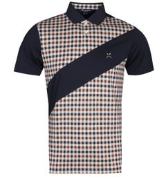 Aquascutum Grantham Check Panelled Navy Polo Shirt