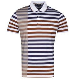 Aquascutum Northfleet Block Stripe Navy, Vicuna & Ivory Polo Shirt