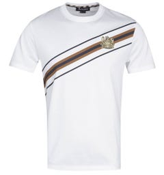 Aquascutum Elgood Slash Stripe White T-Shirt