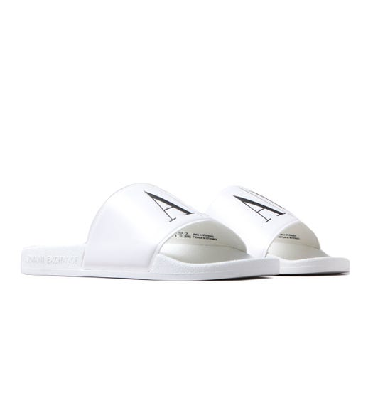 Armani Exchange AX Logo White Sliders