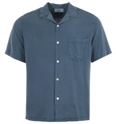 Portuguese Flannel Dogtown Short Sleeve Shirt - Blue