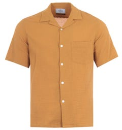 Portuguese Flannel Flame Short Sleeve Shirt - Toasted Yellow