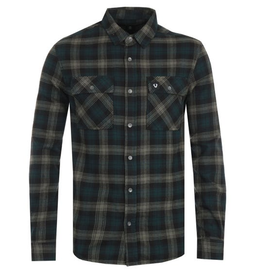 True Religion Triple Needle Plaid Green Shirt