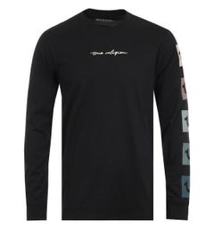 True Religion Script Box Logo Black Long Sleeve T-Shirt