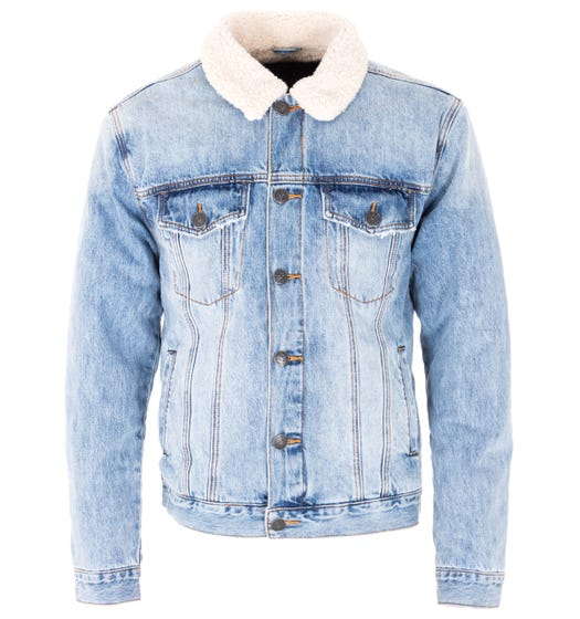 True Religion Trucker Sherpa Denim Jacket - Blue