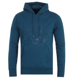 True Religion Buddha Embroidery Poseidon Blue Hooded Sweatshirt