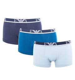Emporio Armani 3 Pack Stretch Cotton Boxer Trunks - Marine Blues