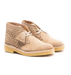 Clarks Originals Woven Suede Desert Boots - Light Tan