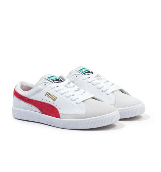 Puma Basket VTG Leather Trainers - White & Red