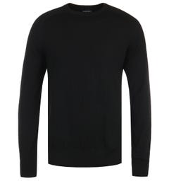 Emporio Armani Virgin Wool Classic Black Crew Neck Sweater