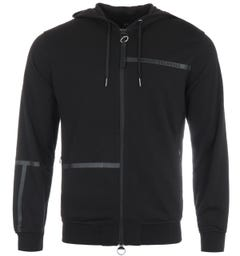 Armani Exchange Tape Logo Zip Hooded Sweatshirt - Black