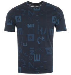 Armani Exchange Square Print T-Shirt - Navy