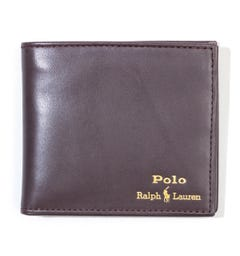 Polo Ralph Lauren Logo Bi Fold Leather Wallet - Brown