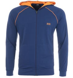 BOSS Bodywear Mix & Match Zip Hooded Sweatshirt - Blue & Orange