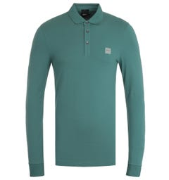 BOSS Passerby Slim Fit Green Long Sleeve Polo Shirt