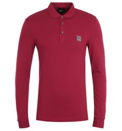 BOSS Passerby Slim Fit Long Sleeve Red Polo Shirt