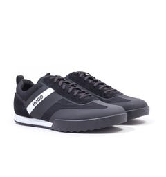 HUGO Matrix Low Top Mesh & Suede Black Trainers