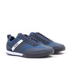 HUGO Matrix Low Top Mesh & Suede Dark Blue Trainers
