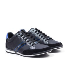 BOSS Saturn Leather Mesh Trainers - Black & Blue