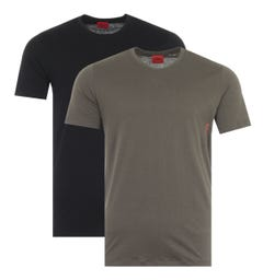 HUGO 2 Pack Sustainable Crew Neck T-Shirts - Black & Green