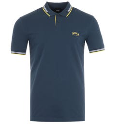 BOSS Paul Curved Slim Fit Twin Tipped Polo Shirt - Navy & Yellow