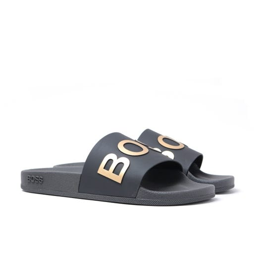BOSS Bay Contrast Logo Slides - Black
