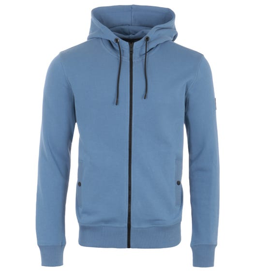 BOSS Sustainable Relaxed Fit Zip Hooded Sweatshirt - Blue