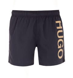 HUGO Abas Large Logo Black Swim Shorts