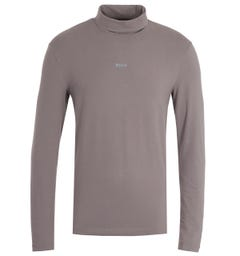 BOSS Roll Neck Elephant Grey Long Sleeve T-Shirt