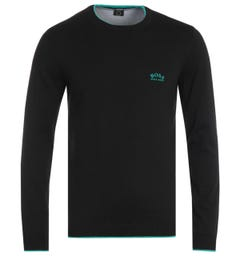 BOSS Riston Organic Cotton Crew Neck Black Sweater