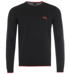 BOSS Riston Organic Cotton Crew Neck Sweater - Black & Red