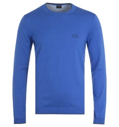 BOSS Riston Organic Cotton Crew Neck Sweater - Blue & Navy