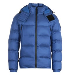 BOSS Water Repellent Sustainable Removable Hood Blue Padded Jacket