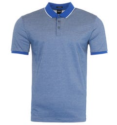 BOSS Prout Mercerised Cotton Tipped Polo Shirt - Blue