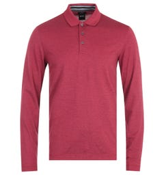 BOSS Pleins 17 Long Sleeve Faded Red Polo Shirt