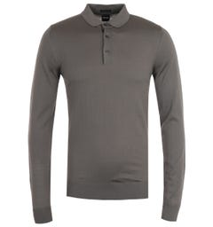 BOSS Dimauro Long Sleeve Virgin Wool Grey Polo Shirt