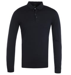 BOSS Dimauro Long Sleeve Virgin Wool Navy Polo Shirt