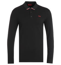 HUGO Donol Organic Cotton Reverse Logo Black Long Sleeve Polo Shirt
