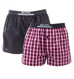 BOSS Bodywear 2 Pack Sustainable Cotton Red Checked Boxers