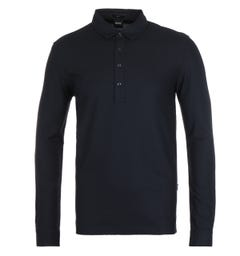BOSS Paver 17 Long Sleeve Slim Fit Navy Polo Shirt