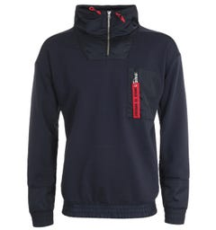 HUGO Damboo Quarter Zip Navy Sweatshirt