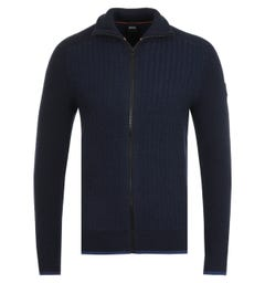 BOSS Kamoine Wool Alpaca Navy Zip Sweater
