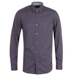 BOSS Lukas 53 Long Sleeve Rectangle Pattern Navy Shirt