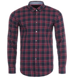 BOSS Rikard Check Slim Fit Shirt - Red