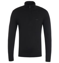 HUGO San Quintus Quarter Zip Logo Black Sweater