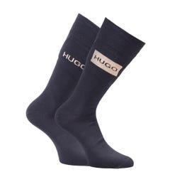 HUGO 2 Pack Sustainable Black Gold Logo Socks